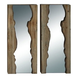 Reflections Wooden Wall Mirrors, Set of 2