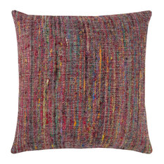 """Rizzy Home Textural Stipe Decorative Polyester Filled Pillow, 22""""x22"""", Multi"""