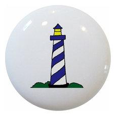 Blue Lighthouse Nautical Ceramic Knob