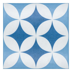 Gijon 8 x 8 Ceramic Tile for Floor/Wall in Two Toned Blue and White