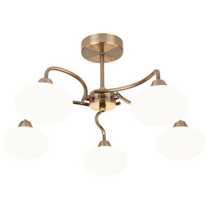 Caen 5-Light Ceiling Light, Antique Brass
