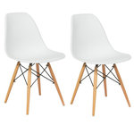 BTExpert - Lowe Midcentury Side Dining Chairs, Set of 2, White - A stylish touch of midcentury flair comes easily with the Lowe dining chairs. These seats feature familiar wooden Eiffel-style bases and plastic molded seats that instantly elevate your kitchen design.