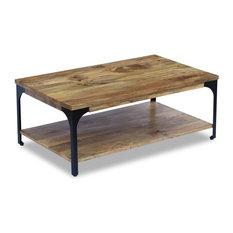 vidaXL Coffee Table in Mango Wood With Shelf, 100x60x38 cm