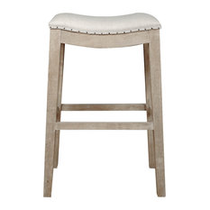 Elevated Upholstered Barstool Stone Wash Brown