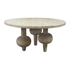 Vern Modern Classic Orb Reclaimed Wood Round Dining Table   Dining Tables