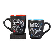 ChalkTalk Coffee Mug 11 Ounce. Mr. Right and Mrs. Always Right, Set of 2