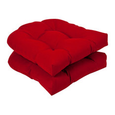 Pillow Perfect Inc - Pillow Perfect Outdoor Solid Wicker Seat Cushions, Set of 2 - Outdoor Cushions and Pillows