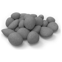 Light Weight Ceramic Fiber Gas Electric Fireplace Pebbles  Set of 24 - Gray