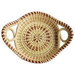 DNA Baskets - Shallow 2 Ring Handle Bread Basket - Shallow Sweet grass bread/fruit basket with 2 handles