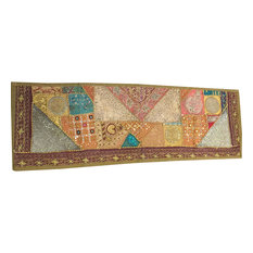 Mogul Interior - Consigned Indian and Sari Green Patchwork Sequin Embroidered - Tapestries