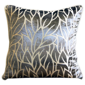 Paloma Gray Leaves, Gray 55x55 Burnout Velvet Cushions Covers for Couch