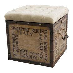 Home Fare Tufted City Crate Storage Ottoman