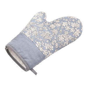 Blue Flowers Cotton Kitchen Oven Mitts Cooking Gloves, 2-Piece Set