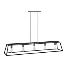 Hinkley Fulton Chandelier 5-Light Open Frame Linear, Aged Zinc