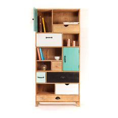 Bibliothéque design bois à tiroirs