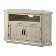 Rustic Style Wooden Corner TV Stand With 2 Door Cabinet White