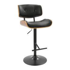 LumiSource Lombardi Adjustable Barstool, Walnut and Black