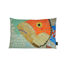 Lava   Orange Fish Mosaic 15x23 Pillow Indoor Outdoor   Outdoor Cushions  And Pillows