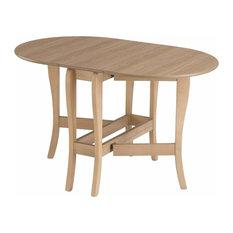 Modern Drop Leaf Table, Heatproof and Oval Tabletop Design, Natural Oak