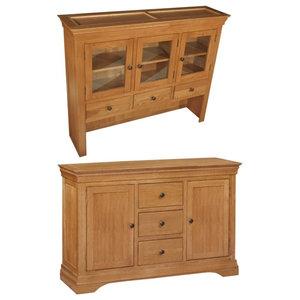 Durant Oak 3-Drawer Storage Unit, Sideboard Plus Hutch