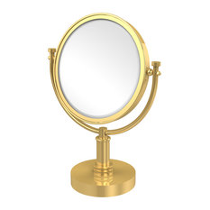 "8"" Vanity Top Make-Up Mirror 5X Magnification, Polished Brass"