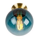 Art Deco Ceiling Lamp Brass with Ocean Blue Glass Shade - Pallon