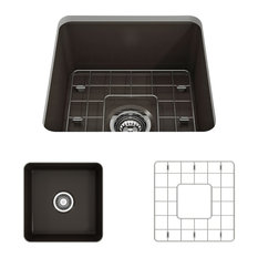 Sotto Undermount Kitchen Sink With Grid and Strainer, Matte Brown, 18""