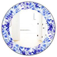 Designart Tropical Mood Blue 4 Frameless Oval Or Round Wall Mirror, 32x32