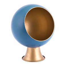 Round Large Metal Planter, Blue