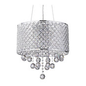 Marya 4-Light Chrome Beaded Drum Chandelier Round Hanging Crystals Glam