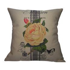"French Rose Stripe Pillow, 16""x16"""
