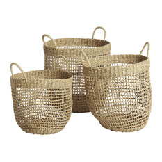 Woven Seagrass Storage Baskets, 3-Piece Set