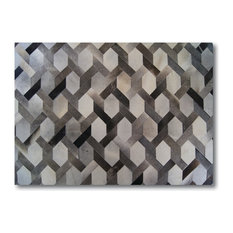 Kaymanta   Milan Design Luxury Hide Patchwork Rug, Gray, 8u0027x10u0027