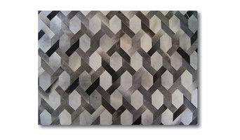 Milan Design Luxury Hide Patchwork Rug, Gray, 8'x10'