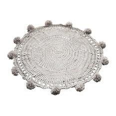 Round Pompom Rug, Grey, 80 cm