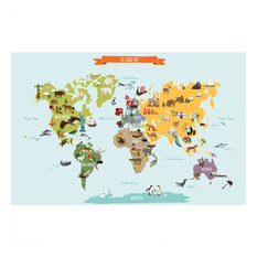 Simple Shapes - The World Map, Poster Wall Sticker, Medium - Kids Wall Decor