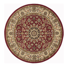 Victoria Transitional Oriental Red Round Area Rug, 8' Round