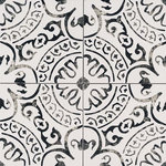 """Tilesbay - 8""""x8"""" Kenzzi Paloma Matte, Set of 50 - Kenzzi Paloma 8x8 porcelain tiles feature an on-trend white and black pattern reminiscent of hand-carved antique stamps. Transform kitchens, bathrooms, entryways, laundry rooms and other spaces with these gorgeous tiles imported from Turkey. Recommended for use as both floor tile and wall tile, create stunning backsplashes, showers, fireplace walls, and floors. They coordinate beautifully with a wide range of other tiles and natural stone slabs in our extensive inventory."""