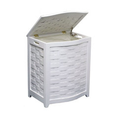 Oceanstar -White Finished Bowed Front Laundry Hamper with Interior Bag