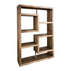 Yoga Straight Geometric Mango Wood Display Shelf, Light Finish