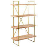 """Statements by J - Emma Etagere, Brown, 37.5""""x16.5""""x63"""" - Showcase your collection of contemporary accents on the Emma Etagere. Featuring 4 wooden shelves on a gold-finished metal frame, the Emma provides you with ample space to display a group of tomes, bookends and statuettes. The rustic look of the natural wood and shiny gold details combine to create a truly unique piece."""