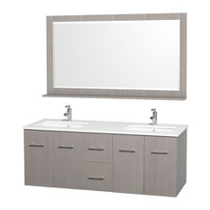 "Centra 60"" Vanity Square Porcelain Undermount Sink Gray Oak Double White Stone"