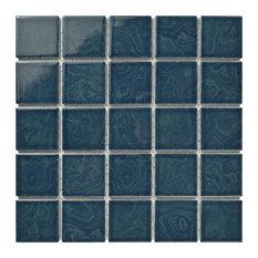 "SomerTile 12""x12"" Resort Porcelain Mosaic Floor/Wall Tile, Coral Blue"