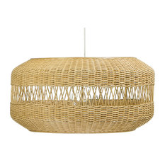 Open Weave Candy Wicker Pendant Lamp, Natural Brown