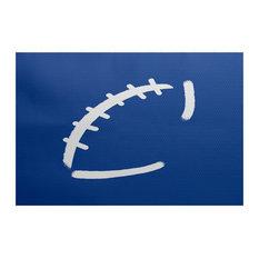 "Football, Geometric Print Indoor/Outdoor Rug, Royal Blue, 3"" x 5-ft"