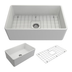 "Classico Farmhouse Kitchen Sink With Grid and Strainer, 30"", Matte White"