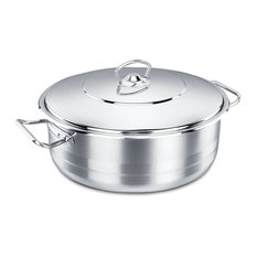 Korkmaz Shallow Stainless Steel Dutch Oven With Lid, 11 Quart
