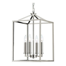 Graff 4-Light Foyer Chandelier Candle Lantern Island Fixture, Polished Nickel