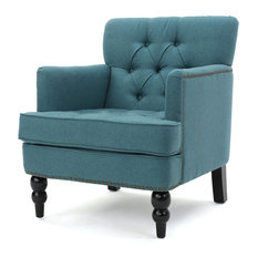 GDFStudio   Madene Tufted Back Fabric Club Chair, Teal   Armchairs And Accent  Chairs