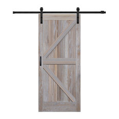 Rustic White Oak K-Plank Bent Strap Barn Door Kit, 36""